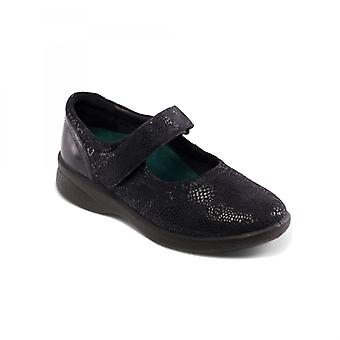 Padders Sprite 2 Ladies Leather Extra Wide (3e/4e) Shoes Navy Floral