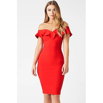 Favorecedor Frill Bardot Midi Dress