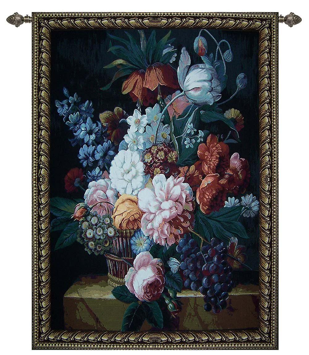 Jan frans van dael - flower and grapes wall hanging by signare tapestry / 100cm x 138cm / wh-fgp