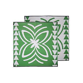 Lalolagi Pacific Island Samoa Design Recycled Mat Green And White