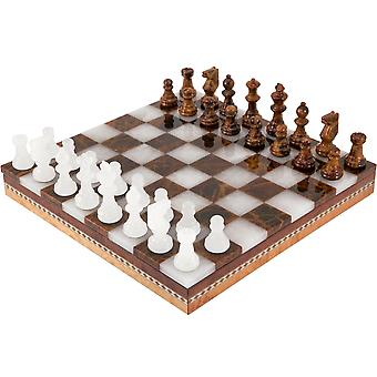 Brown & White Alabaster Chess & Draughts with Inlaid Chest