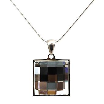 TOC Square Faceted Pendant made with Swarovski crystals on 18 Inch Chain
