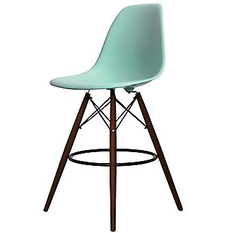 Charles Eames Stil Aqua blau Kunststoff Bar Hocker - Walnuss Beine