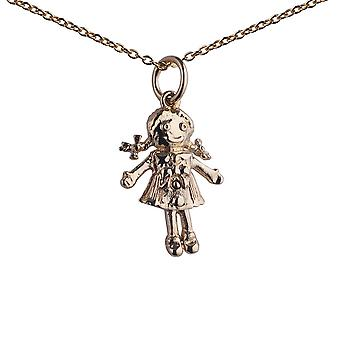 9ct Gold 19x13mm moveable Rag doll Pendant with a 1.1mm wide cable Chain 20 inches
