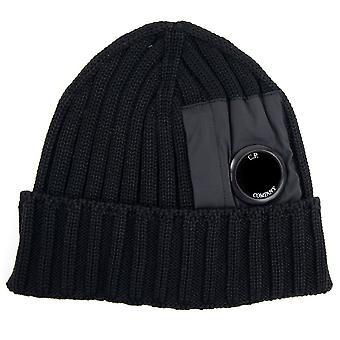 CP Company Extra Feine Merino Wolle Nylon Objektiv Beanie Schwarz 999