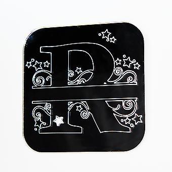 Wirbel und Sterne Alphabet Square Acrylspiegel Buchstabe R