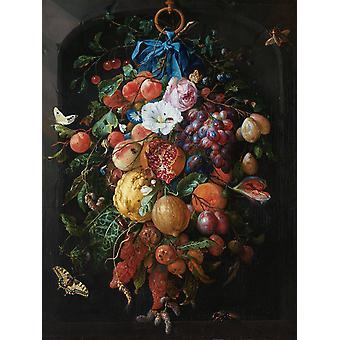 Jan Davidsz de Heem Art Print Festoon of Fruit and Flowers Garland of Fruits and Flowers, Paper 250 gr. matt small format