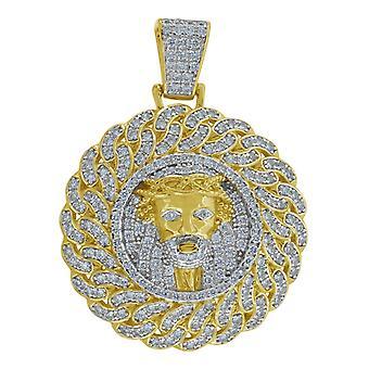 הטון הצהוב 925 שטרלינג Mens כסף מסביב CZ מעוקב היהלומים מדומה יהלום דתי השראה ישו פנים קלרנית