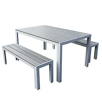 3 pièce Polywood Outdoor Dining Table Bench Set Durable Aluminium Frame in Grey