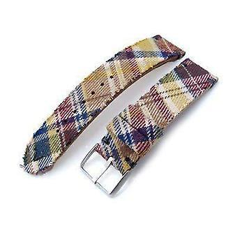 Strapcode fabric watch strap 20mm, 22mm miltat stewart camel tartan pattern watch strap, grey stitching