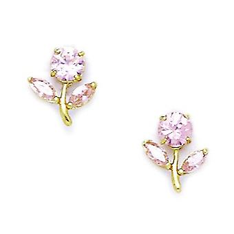 14k Yellow Gold Pink CZ Cubic Zirconia Simulated Diamond Flower With Leaves Screw back Earrings Measures 10x8mm Jewelry