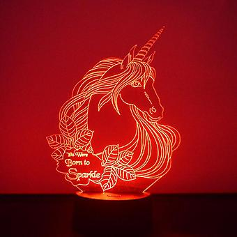 Unicorn hodet med gnisten sitere LED akryl lys