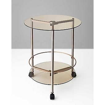 """24"""" X 23.5"""" Copper 3 Wheels on Base Rolling End Table"""