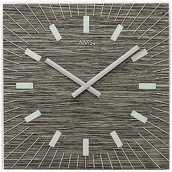 AMS 9579 Seinäkello Kvartsi analoginen fossiilirakenne neliö lasilla