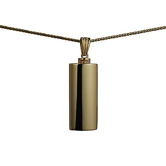 9ct Gold 33x13x10mm handmade plain oval Memorial Cylinder with a spiga Chain 24 inches