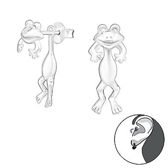 Frog - 925 Sterling Silver Ear Jackets & Double Earrings - W24269x