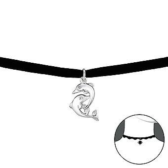 دولفين - 925 الجنيه الاسترليني فضة + المخملية الخانقات - W34056x