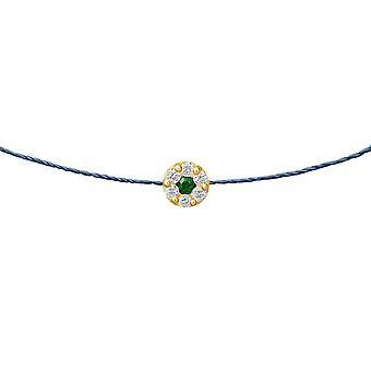 Choker Duchess Emerald 18K Or and Diamonds, on Thread - Yellow Gold, NavyBlue
