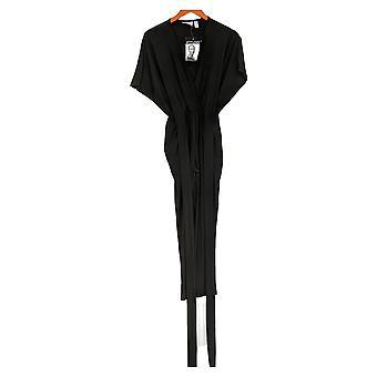 Women with Control Petite Jumpsuits Faux Wrap Knit Black A290770