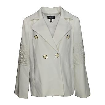 Dennis Basso Women's Coat Luxe Crepe Jacket w/ Lace Applique White A345015