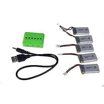 YUNIQUE® 5 in 1 caricatore Adapter + 5 x batterie al litio 3.7V 380mAh 25C per Tera Mini quadriccotteroHubsan X4 H107C H107D etc.