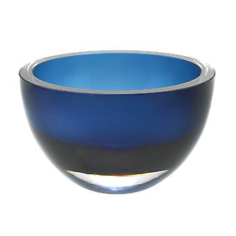 """6"""" Mouth Blown European Made Lead Free Midnight Blue Crystal Bowl"""