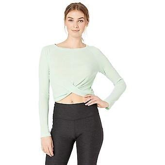 Core 10 Women's Lightweight Semi-Sheer Rib Knit Yoga Knot Front Cropped Long ...