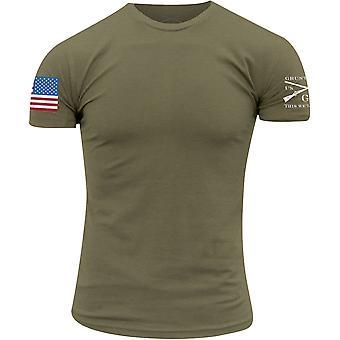 グラントスタイルフルカラーフラッグベーシックTシャツ - ミリタリーグリーン
