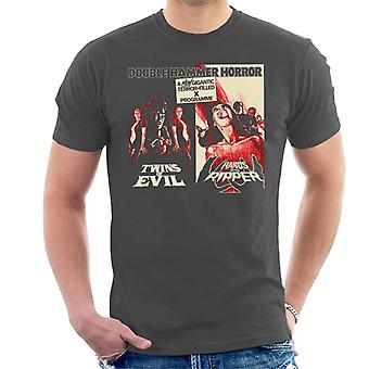 Hammer Horror Films Twins Ripper Terrifying Double Bill Men's T-Shirt