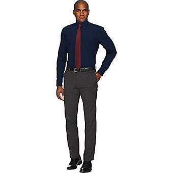 BUTTONED DOWN Men's Slim Fit Button Collar Solid Pocket Options, Navy 15