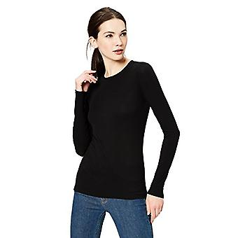Marca - Daily Ritual Women's Rib Knit Jersey Long-Sleeve Crew Neck Shirt, Preto, Médio