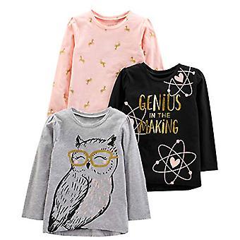 Simple Joys by Carter's Girls' Toddler 3-Pack Graphic Long-Sleeve Tees, Geniu...
