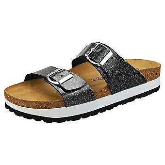 Cosmos Comfort Two Strap Two Buckle Glitter Womens Walking Sandals in Black