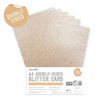 Dovecraft Double Sided Glitter Pack A4 Rose Gold