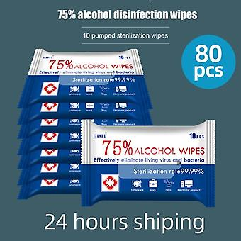 80pcs Disinfect Wipes Soft Alcohol Antiseptic Pads Large Wet Wipes For Sterilization First Aid Cleaning
