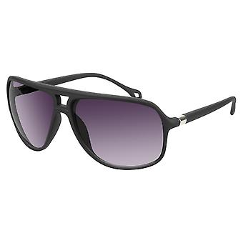 Sunglasses Unisex matt black with grey lens (17-416 P)