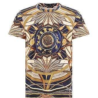 Balmain Uh01601i354aaa Men's Gold Cotton T-shirt