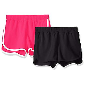Essentials Big Girls' 2-Pack Active Running Short, Black/Raspberry, M