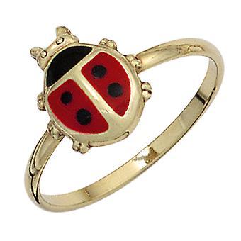 Kinder Ring Marienkäfer 333 Gold Gelbgold Lackeinlage rot schwarz Kinderring  Größe:48