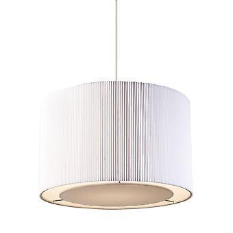Endon Colette - Plafond cylindrique Pendentif Light Chrome, Tissu Blanc Tc, E27