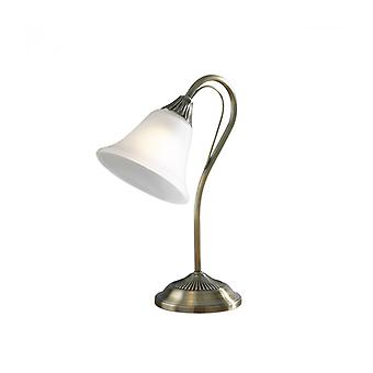 Boston Table Lamp In Antique Brass And Opal Glass 1 Light