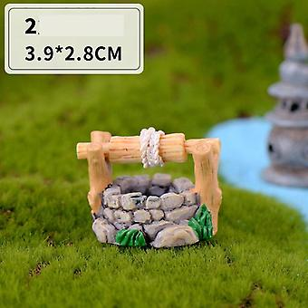 Mini Lighthouse Water Well Bridge Figurines Miniature Craft Fairy Garden Gnome