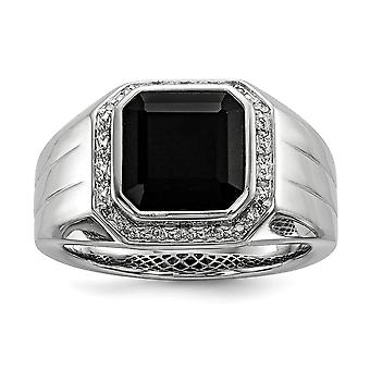 925 Sterling Silver Bezel Polished Prong set Diamond and Black Simulated Onyx Square Mens Ring Jewelry Gifts for Men - R
