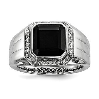 925 Sterling Silver Bezel Gepolijst Prong set Gift Boxed Rhodium vergulddiamond en zwarte gesimuleerde Onyx Square Mens Ring