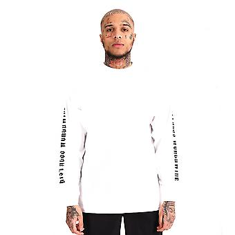 Distress 'Who's World' Long Sleeve T-Shirt White