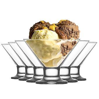 LAV Crema Glass Ice Cream Dessert Bowl - 165ml - Pack de 6 platos de porción tazas de helado