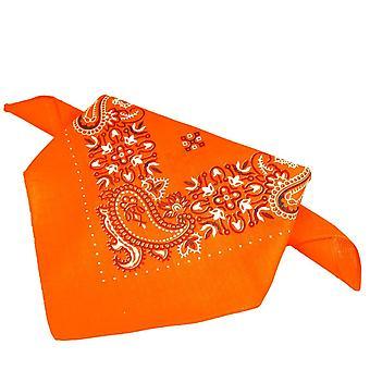 Ties Planet Orange , White & Black Patterned Bandana Neckerchief