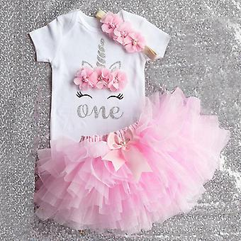 1st Birthday Outfits Baby Girl Clothes Children Ballet Skirts With Headband Cotton Romper Suits For Party