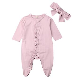 Autumn Newborn Kids Infant Baby Long Sleeve Cotton Button Romper Jumpsuit