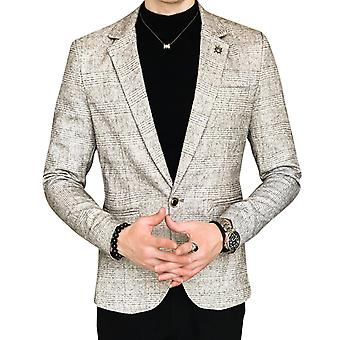 YANGFAN Mens Check Suit Jacket One Button Coat